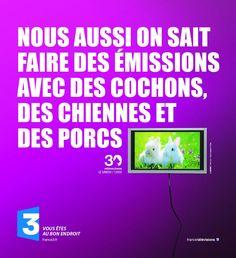 """Affiche de la campagne France Télévision pour """"30 Millions d'Amis"""" faisant allusion à """"L'amour est dans le pré""""."""