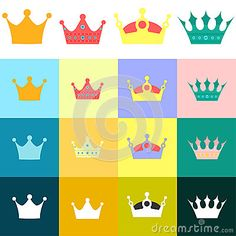 Set of crown with more icon flat design