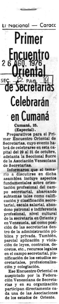 Primer encuentro oriental de secretarias. Publicado el 26 de agosto de 1976.
