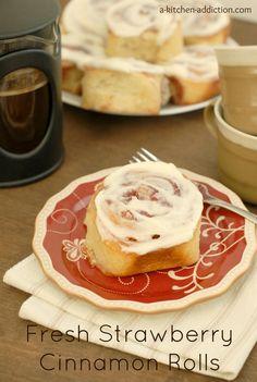 Fresh Strawberry Cinnamon Rolls - http://www.a-kitchen-addiction.com/fresh-strawberry-cinnamon-rolls/