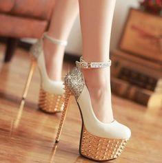 Round Closed Toe Platform Rivet Embellished Stiletto High Heels White PU Ankle Strap Pumps $33.49