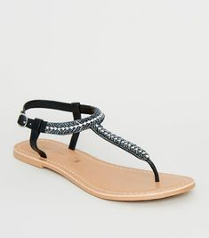 5a820f687c4e7 Black Leather Strap Diamanté and Bead Sandals