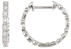 Bony Levy 18K White Gold Diamond Hoop Earrings - 0.09 ctw