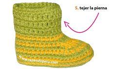 Botitas con ondas bebe (wiggle crochet booties) - Tejiendo Perú All Free Crochet, Knit Crochet, Crochet Patron, Crochet Baby Booties, Baby Sweaters, Sewing Projects, Booty, Knitting, Crafts