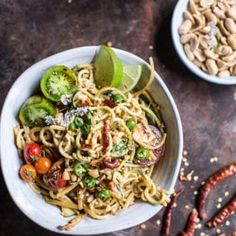Healthy Fiery Schezwan Peanut and Chili Zucchini Noodles. Ready In just 20 minutes with almost zero cooking involved! Sweet Potato Noodles, Veggie Noodles, Zucchini Noodles, Peanut Noodles, Pasta Noodles, Vegetarian Recipes, Cooking Recipes, Healthy Recipes, Healthy Dishes
