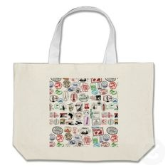 Travel Stamps Pattern Canvas Bag