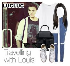 """""""Traveling with Louis"""" by style-with-one-direction ❤ liked on Polyvore featuring Topshop, Acne Studios, Ray-Ban, Converse, OneDirection, 1d and louistomlinson"""