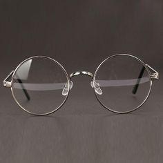 Women or Men Retro Round Metal Frame Clear Lens Glasses Nerd Spectacles Round Lens Sunglasses, Cute Sunglasses, Sunglasses Women, Fake Glasses, Glasses Frames, Round Metal Glasses, Glasses Trends, Lunette Style, Fashion Eye Glasses