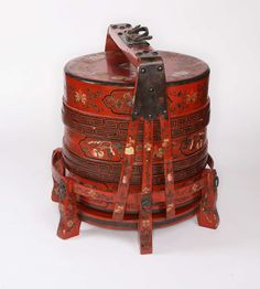 Antique   1900s Red Chinese Wedding Day Food Carrier Boxes