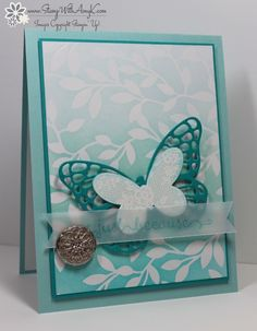 ombre effect on resist paper, topped with layered butterflies. Butterfly Basics - Stamp With Amy K