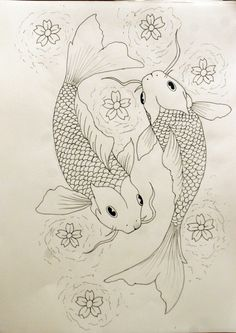 """Koi fish are the domesticated variety of common carp. Actually, the word """"koi"""" comes from the Japanese word that means """"carp"""". Outdoor koi ponds are relaxing. Koi Fish Drawing, Koi Fish Tattoo, Fish Drawings, Art Drawings Sketches, Tattoo Drawings, Pond Drawing, Koi Tattoo Sleeve, Tattoo Outline Drawing, Forearm Sleeve"""