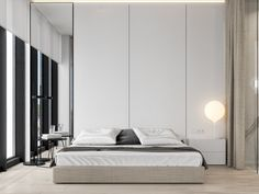 Bachelor apartment - gray color scheme tall ceilings - modern bedroom design on NONAGON.style