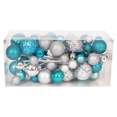 Smooth Molded Ball Garland - Blue/Silver (4')