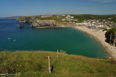 View over Portreath from Western Hill, Cornwall Places Around The World, Around The Worlds, Cornish Coast, Kingdom Of Great Britain, Connemara, Cornwall England, Over The Rainbow, Sandy Beaches, Northern Ireland
