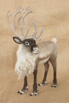 Arthur the Caribou: Needle felted animal sculpture by The Woolen Wagon