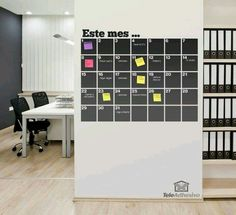 Great idea for a home office, chalkboard calender with (colour-coded obviously) sticky notes for dates/events or assignments Office Interior Design, Home Office Decor, Office Interiors, Office Ideas, Office Workspace, Office Walls, Chalkboard Wall Calendars, Chalkboard Vinyl, Sweet Home