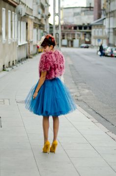 Sometimes, subtlety doesn't work. Sometimes you need bright sky high heels, a fluffy pink coat AND an electric blue tutu.
