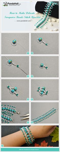 PandaHall Inspiration Project---How to Make Delicate Turquoise Beads Stitch Bracelet Turquoise color gives people a kind of refreshing and vibrant feel, today's tutorial is about making a delicate turquoise beads stitch bracelet. The finished work is very stunning! #jewelry #bracelet #turquoise #beads #pandahall #tutorial #craft #diy #pandahalldiy #promotion