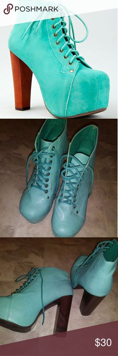 Jeffrey Campbell INSPIRED lita boots. Turquoise Not actual Jeffrey Campbell boots. Platform turquoise/ mint green/ teal boot heels Vintage Shoes Ankle Boots & Booties