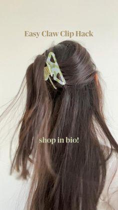 Easy Updo Hairstyles, Summer Hairstyles, Greasy Hair Hairstyles, Aesthetic Hair, Stylish Hair, Claw Clip, Hair Hacks, Hair Pins, Hair Inspiration