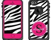 Pink Zebra Animal Print Monogram -Lifeproof iPhone 6 Fre, LifeProof iPhone 5 5S 5C Fre Nuud, Lifeproof iPhone 4 4S Fre Case Decal Skin Cover