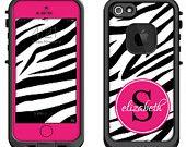 Pink Zebra Animal Print Monogram -Lifeproof iPhone 6 Fre, LifeProof iPhone 5 5S 5C Fre Nuud, Lifeproof iPhone 4 4S Fre Case Decal Skin Cover