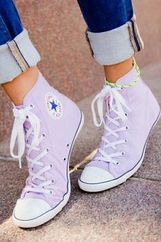 Light Purple high top converse, love these for an alternative to wearing high heels,slippers or flip flops on your wedding day.