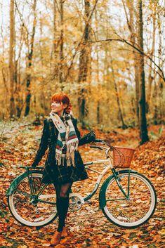 ROMWE Plaid Coat | ModCloth Plaid Scarft | Bike | Fall