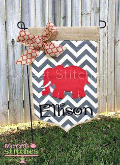 Alabama Elephant Chevron Canvas Burlap By StitchedsoSweet On Etsy