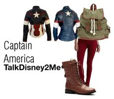 """""""Captain America"""" by talkdisney2me ❤ liked on Polyvore featuring Charlotte Russe, Wet Seal, Avengers, marvel, disneybound and disneycharacter"""