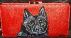 Schipperke Dog Portrait Leather Wallet for Men Custom Hand Painted