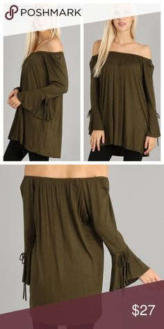 Off The Shoulder Olive Tunic Adorable flare sleeve top. No trades and no holds. Happy shopping 😃 Tops Tunics