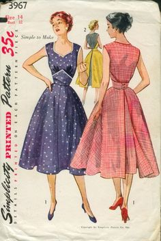 """Simplicity 3967; ©1952; Misses' One-Piece Dress: A """"Simple to Make"""" wraparound fashion. The pattern consists of four pieces. No side seams or facings are necessary. Front bodice is gathered at lower edge and joins a wide midriff section which fastens at back with two buttons. The half circle skirt is flared and open at back below midriff closing. Contrast bias binding encases edges. View 2: Back section is contrasting. Vintage Pattern"""