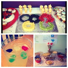 Olympics themed party - I like the idea of the different colored fruits....I'd just put bowls of fruit in those colors instead of trying to make the rings.
