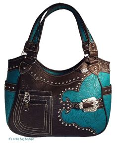 Ladies concealed carry purse.  This Montana West western purse has beautiful tooled leather with a floral design, a large decorative buckle, two front zip pockets, and is embellished with silver studs. This conceal carry handbag is made of PU Leather, with a top zip closure, double handles with a 10 inch drop. Interior features a zip pocket, 2 slip pockets, cell phone pocket and a zip pocket on the back, and side pockets.