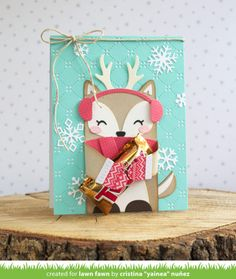 Lawn Fawn Intro: Woodland Critter Huggers Winter Add-On Christmas Tag, Handmade Christmas, Christmas Crafts, Xmas Cards, Holiday Cards, Lawn Fawn Blog, Woodland Critters, Lawn Fawn Stamps, Woodland Party