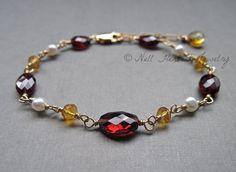 Garnet Bracelet, Garnet Citrine and Pearl Bracelet, Gemstone Bracelet, Wire Wrapped Gold Bracelet, January Birthstone