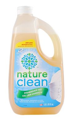 Nature Clean Dishwasher Gel. 100% phosphate free. Hypoallergenic, free of dyes, perfume, SLS, chlorine. Available @ Grassroots Store and select grocery stores #fragrancefree #unscented #scentfree #vegan