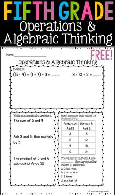 Free Fifth Grade Operations & Algebraic Thinking Printable- can be used as daily math, skills practice, spiral review, homework, or assessments. One of 7 free fifth grade math printables!