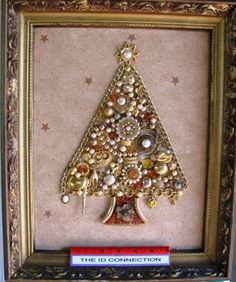 Handmade Junk Jewelry Framed Christmas Tree by TheIDconnection, $75.00