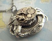 WANT. Steampunk Necklace Silver Crab Locket Vintage Watch Movement Rustic Antiqued Silver Nautical Art Jewelry Gothic Victorian