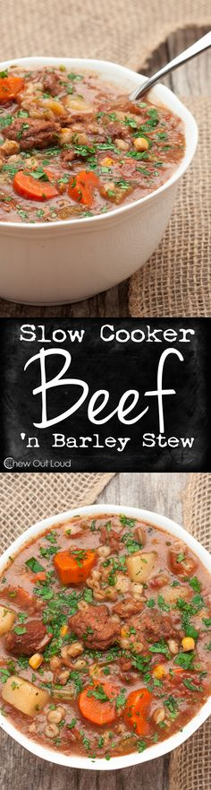 Slow Cooker Beef Vegetable Barley Stew. Easy, Hearty, and perfect for a chilly evening. Tender beef, healthy veggies, and soft barley. It doesn't get better than this. #recipe #dinner #crockpot