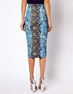 ASOS Pencil Skirt in Snake Print $32  perfect with a white t