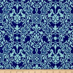 Faille Damask Print Shirting Blue/Teal from @fabricdotcom  This luxurious faille is tightly woven with a faintly ribbed pattern, creating a distinctive textured feel. With a buttery soft, rayon-like hand and fluid drape, this fabric is absolutely perfect for creating dresses, skirts and blouses.