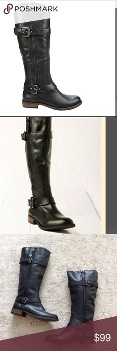 Steve Madden Sonya moto boots 9 1/2 Never worn Steve Madden Sonya knee high boots.  One zipper pull is missing.  The zipper that has the missing pull is for decoration only, zipper doesn't move.  Leather upper. Steve Madden Shoes Combat & Moto Boots