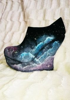 $60 Galaxy Print Wedge Shoes by SophiasPalette on Etsy