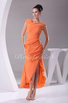 Sheath/Column Off-the-shoulder Ankle-length Short Sleeve Chiffon Dress - $89.99