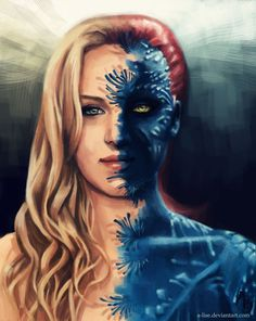 Mystique/Raven - X-Men: Days of Future Past. Strong, driven, and idealistic. Out to save the mutant race with her eye set on the enemy. Compassionate even though she seems to always be out for blood; ends up doing the right thing in the end.