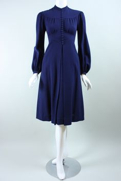 1970's Jean Muir Dark Blue Crepe Dress | From a collection of rare vintage evening dresses at https://www.1stdibs.com/fashion/clothing/evening-dresses/