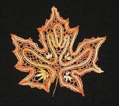 Кленовый лист - коклюшечное кружево